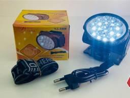 Lanterna De Cabeça 13 Led Recarregável Para Camping Caça