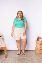Blusinha Básica Plus Size Feminina - Decote V Malha Viscose
