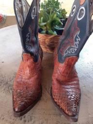 Bota texana masculino couro legitimo