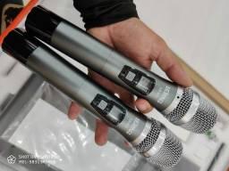 microfone duplo sem fio profissional karaokê