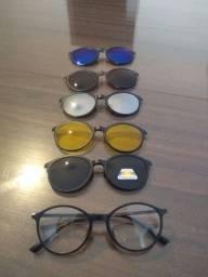 Armação Óculos Grau e Sol Clip on 6 em 1