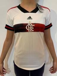 Camisa Flamengo - Uniforme Feminino - Branco - Envio por Sedex
