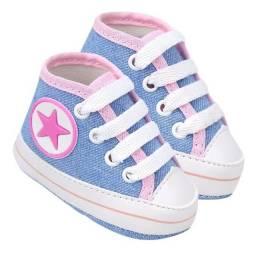 Tênis Cano Alto Para Bebê Star Azul Claro  - Soffete