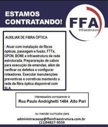 Vagas para Auxiliar de Fibra Optica