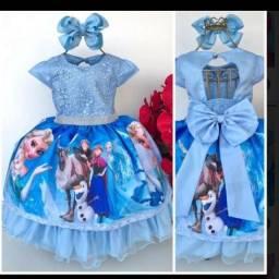 Vestido Luxo Frozen Novo