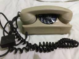 Antigo Telefone De Disco branco telemic  funcionando