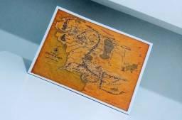 Placa Decorativa em MDF Mapa Terra-Média / O Senhor dos Anéis