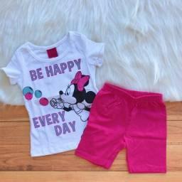 Conjunto Infantil Cativa Disney Menina T-shirt E Bermuda