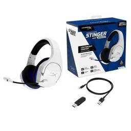 Headset Sem Fio Gamer HyperX Cloud Stinger Core, Drivers 40mm, PS5 PS4 e PC, Branco e Azul
