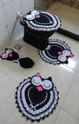 Conjunto de banheiro da coruja de crochê