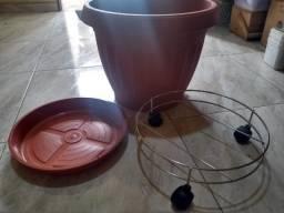 Kit Polipropileno - Vaso + prato e suporte com rodizio