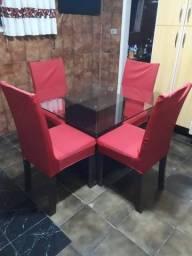 Conjunto Sala de Jantar, Mesa tampo de vidro de 1m x 1m