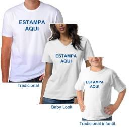 Camiseta Branca com Estampa Personalizada Customizada Adulto e Infantil