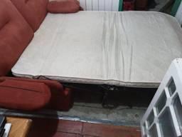 Sofá cama suede vermelho caramelo