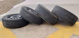 R$ 800,00 4 rodas aro 15 com 4 pneus seme-novos