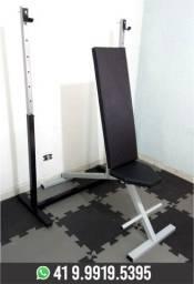 Kit Suporte para Supino+Banco Reclinável Musculação Novo! Fabricação Própria