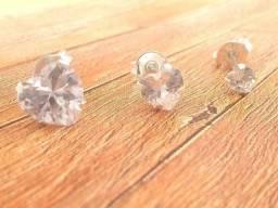 Trio de brincos Prata 925 Coração 4, 6, 8 mm Produto Novo com Garantia