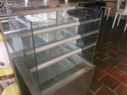 Balcão refrigerado luxo vidro - vidro quadrado - em inóx