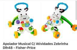 Apoiador / andador musical Fisher Price com atividades Zebrinha usado