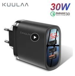 Carregador de celular 3 usb carga rápida 3.0 30w qc carregamento rápido multi