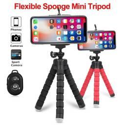 Tripé flexível, suporte de tripé para câmera e celular com controle remoto bluetooth