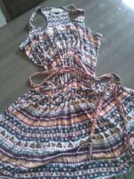 Vestido em malha com cinto