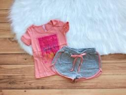 Ref119 Conjunto Infantil Cativa Menina T-shirt Short Moletom