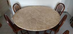 Tampo de mesa em mármore padrão Travertino Bege