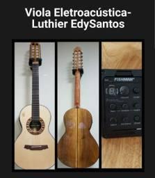 Viola Caipira Eletroacústica Luthier nova aceito violão Elétrico  como parte de pg.