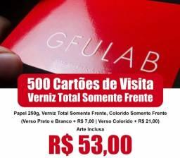 500 Cartões de Visita - Verniz Total Somente Frente - 250g