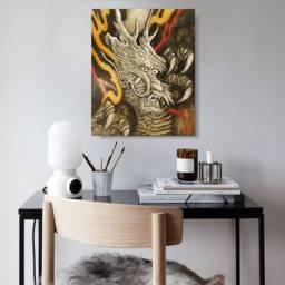 Quadro Japonês Dragão Proteção Pintado à Mão 50x40cm Decoração Oriental, Estampa Japonesa