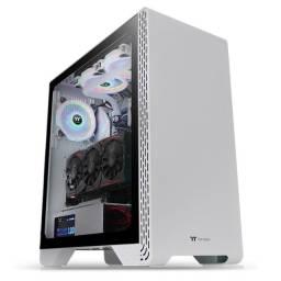 Gabinete Gamer ThermalTake, S300 Snow,Mid,Vidro Temperado,Com 1 Fan, Entregamos