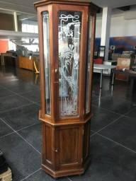 Cristaleira Em Mogno Antiga com espelhos Bordado