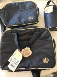 Kit 3 peças bolsas de maternidade azul