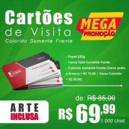 Cartões de Visita - Colorido Somente Frente (Mega Pomoção)
