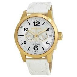 Relógio Masculino Invicta Couro - Branco/Dourado
