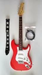 Guitarra Waldman ST 111 RD vermelha + correia + capa
