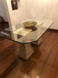 Mesa de jantar com mármore e vidro (belíssima)