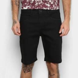 Bermuda Jeans Masculina Slim Fit Barezy - Preta - Tamanho 46