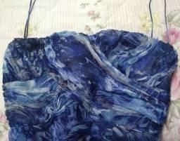 Vestido festa azul floral Tam 40/42