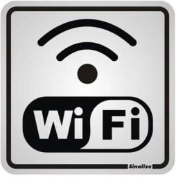 "Título do anúncio: Placa Sinalizadora Auto-Adesiva ""Wi-Fi"" 15x15cm Sinalize"