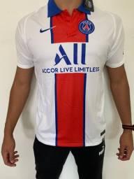 Camisa Paris St Germain - Uniforme PSG Masculino - Branco - Envio por Sedex