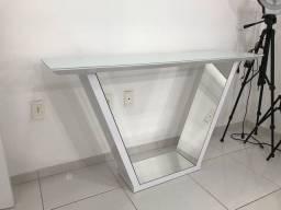 Aparador tampo de vidro espelho por dentro 1.35x80