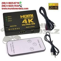 Adaptador Switch 3 Portas Hdmi 4k Ultra Hd 3 x 1 Controle Remoto em São Luís Ma