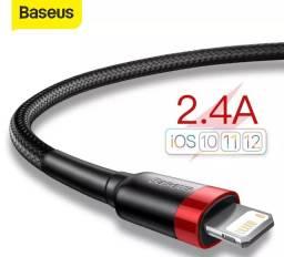 Cabo carregador USB para IPhone 11 e 12 pro Max, xs, x8 2.4a