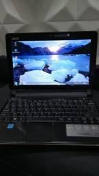 Netbook Acer intel Dual 1.6 GHz, Memória 2 Gb, Hd 160, Webcam, Som, 3 USBs, Wi-Fi, Bateria