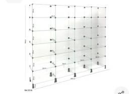 Estante modular de vidro 2,60 x ,90 x ,30