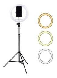 Ring Light com Tripé 210cm Led Portátil 26cm/Suporte Celular