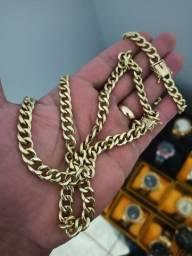 Conjunto cordão e pulseira de moeda antiga