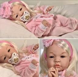 Linda Boneca bebê reborn loira 100% silicone